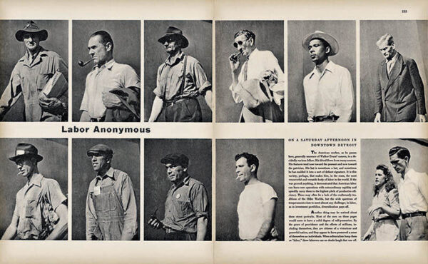 Walker Evans, page spread for 'Labor Anonymous', Fortune, November 1946.  Courtesy of The Metropolitan Museum of Art, New York