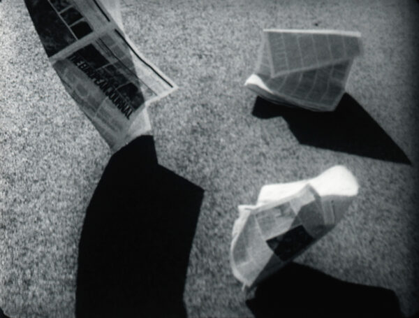 Sonya Lacey, <i>Newspaper (for Vignelli)</i> 2011, 16mm film transferred to HD video, 3mins 35secs, looped. Victoria University of Wellington Art Collection, purchased 2012