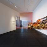 Judy Millar, installation view of <em>Space Work 7</em>, 2014. Wood, paint, digital print, 11.1 x 4.3 meters. Courtesy of the artist, Gow Langsford, Auckland and the Adam Art Gallery. Photo: Shaun Waugh.