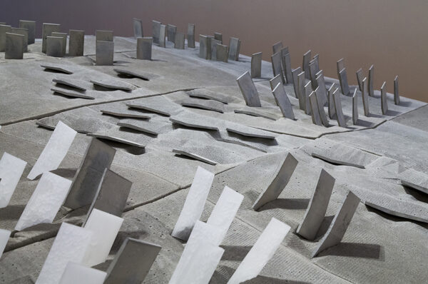 Simon Twose, detail view of <em>Concrete Drawing</em>, 2014-5, concrete, polystyrene, wax, photographs and graphite, in the exhibition <em> Drawing Is/Not Building</em> at the Adam Art Gallery Te Pātaka Toi, Victoria University of Wellington (photo: Shaun Waugh)